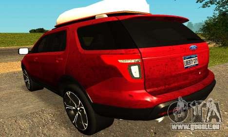Ford Explorer 2013 pour GTA San Andreas sur la vue arrière gauche