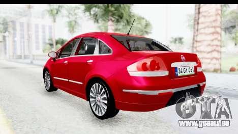 Fiat Linea 2015 v2 pour GTA San Andreas sur la vue arrière gauche