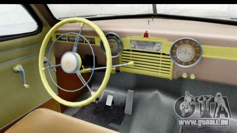 GAZ М20В Victoire 1955 SA Plaque pour GTA San Andreas vue arrière