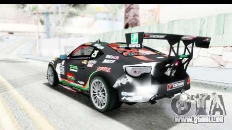 D1GP Toyota 86 2015 DRIVE für GTA San Andreas zurück linke Ansicht