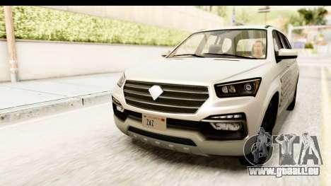 GTA 5 Benefactor XLS IVF pour GTA San Andreas vue intérieure