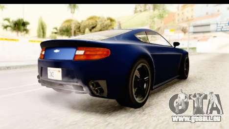 GTA 5 Dewbauchee Rapid GT pour GTA San Andreas sur la vue arrière gauche