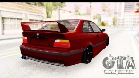 BMW M3 E36 Spermatozoid Edition pour GTA San Andreas sur la vue arrière gauche