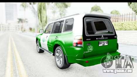 Mitsubishi Montero Carabiniers Section SIAT pour GTA San Andreas laissé vue