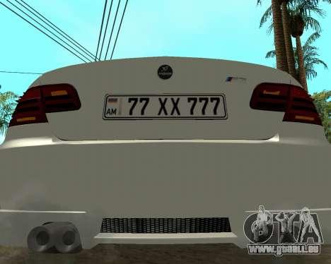 BMW M3 Armenian pour GTA San Andreas vue intérieure