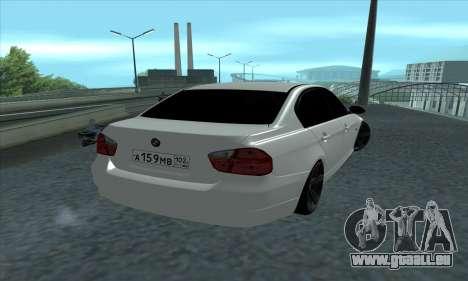 BMW 325i E90 pour GTA San Andreas laissé vue