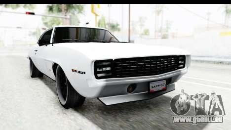 Chevrolet Camaro SS 1968 White Edition pour GTA San Andreas vue de droite