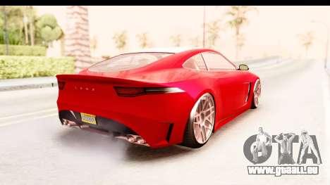 GTA 5 Ocelot Lynx IVF pour GTA San Andreas sur la vue arrière gauche