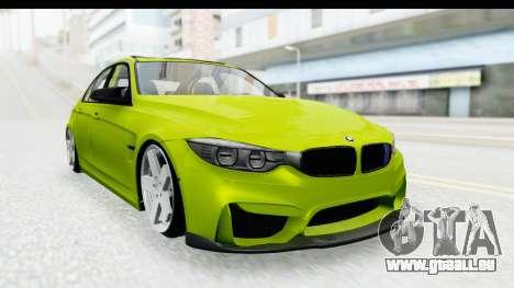 BMW M3 F30 Hulk für GTA San Andreas zurück linke Ansicht