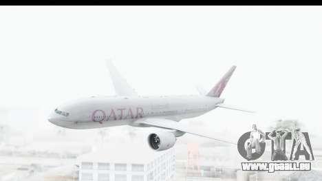 Boeing 777-200LR Qatar Airways pour GTA San Andreas sur la vue arrière gauche