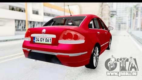 Fiat Linea 2015 v2 pour GTA San Andreas laissé vue