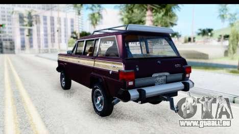 Jeep Grand Wagoneer für GTA San Andreas zurück linke Ansicht