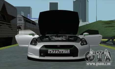 Nissan GT-R R35 Green Screen pour GTA San Andreas sur la vue arrière gauche