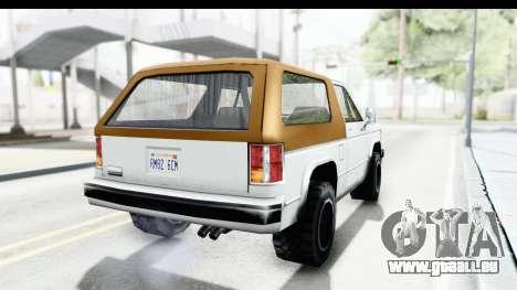 Ford Bronco from Bully für GTA San Andreas rechten Ansicht