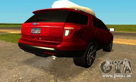 Ford Explorer 2013 pour GTA San Andreas laissé vue