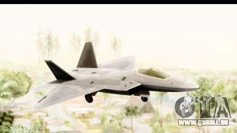 Lockheed Martin F-22 Raptor pour GTA San Andreas sur la vue arrière gauche