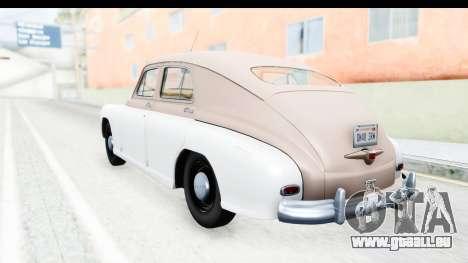 GAZ М20В Victoire 1955 SA Plaque pour GTA San Andreas laissé vue