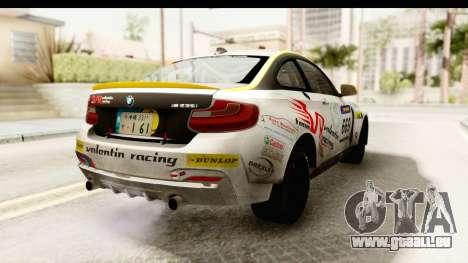 BMW M235i Coupe pour GTA San Andreas sur la vue arrière gauche