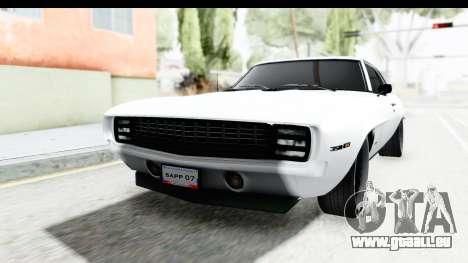 Chevrolet Camaro SS 1968 White Edition pour GTA San Andreas