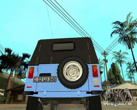 Luaz 969 Armenian pour GTA San Andreas sur la vue arrière gauche