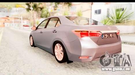 Toyota Corolla 2014 IVF pour GTA San Andreas vue de droite