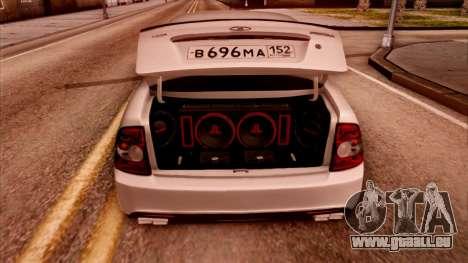 Lada Priora Autozvuk v.2 pour GTA San Andreas sur la vue arrière gauche