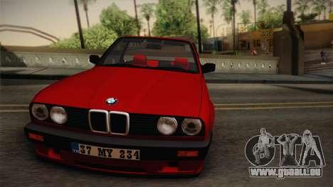BMW M3 E30 1991 v2 pour GTA San Andreas sur la vue arrière gauche