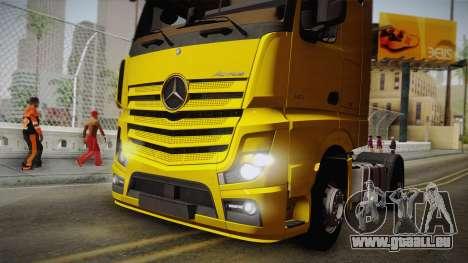 Mercedes-Benz Actros Mp4 4x2 v2.0 Gigaspace v2 für GTA San Andreas Rückansicht