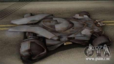 Batman VS Superman Batmobile für GTA San Andreas zurück linke Ansicht