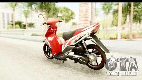Yamaha Mio GT Standart für GTA San Andreas zurück linke Ansicht