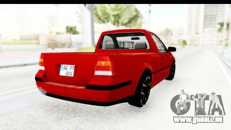 Volkswagen Golf Mk4 Pickup pour GTA San Andreas sur la vue arrière gauche