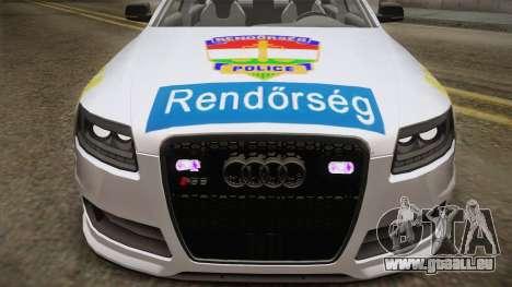 Audi RS6 Hungarian Police pour GTA San Andreas sur la vue arrière gauche