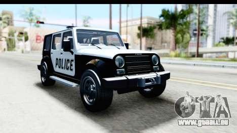 Canis Mesa Police für GTA San Andreas zurück linke Ansicht