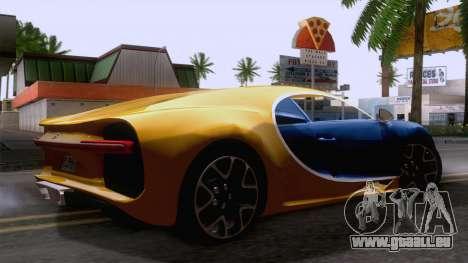 Bugatti Chiron 2017 v2.5 für GTA San Andreas zurück linke Ansicht