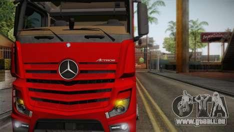 Mercedes-Benz Actros Mp4 6x4 v2.0 Bigspace pour GTA San Andreas sur la vue arrière gauche
