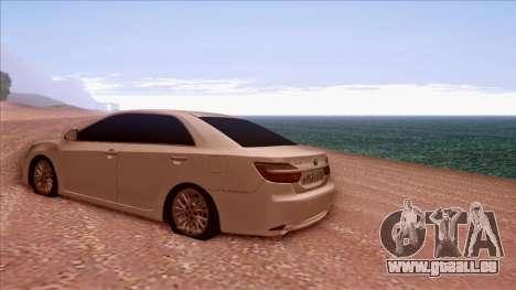 Toyota Camry 2016 pour GTA San Andreas sur la vue arrière gauche