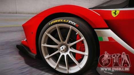 Ferrari FXX-K 2015 PJ für GTA San Andreas zurück linke Ansicht
