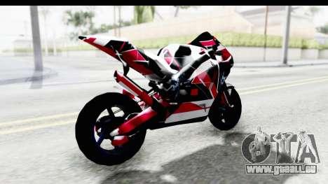 Dark Smaga Motorcycle with Frostbite 2 Logos für GTA San Andreas zurück linke Ansicht