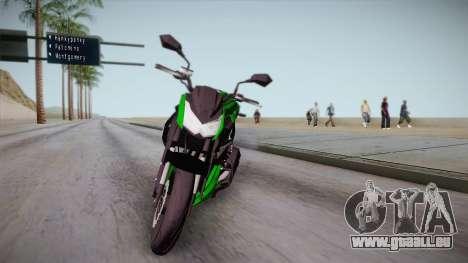Kawasaki Z1000 2013 pour GTA San Andreas sur la vue arrière gauche