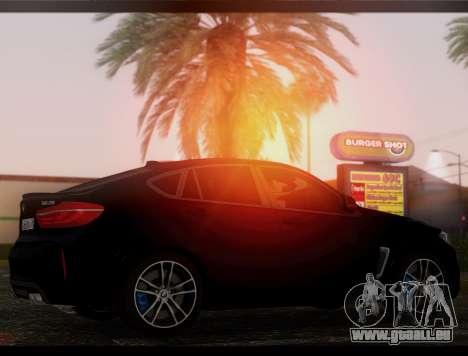 BMW X6M BULKIN SAMP EDITION pour GTA San Andreas sur la vue arrière gauche
