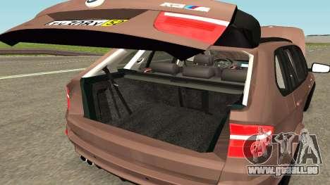 BMW X5M pour GTA San Andreas vue de dessus