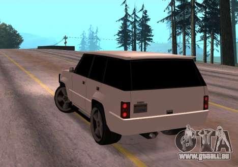 Huntley Rover pour GTA San Andreas sur la vue arrière gauche