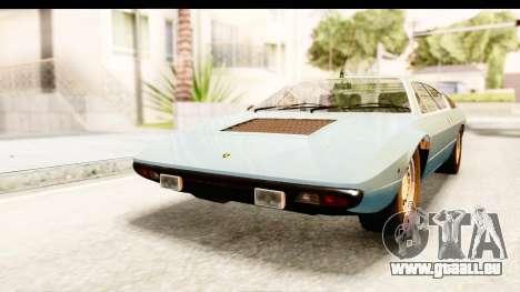 Lamborghini Uracco P300 39 für GTA San Andreas zurück linke Ansicht