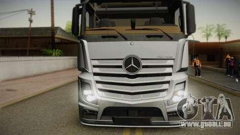 Mercedes-Benz Actros Mp4 6x4 v2.0 Steamspace v2 pour GTA San Andreas sur la vue arrière gauche