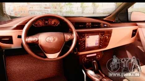Toyota Corolla 2014 IVF pour GTA San Andreas vue intérieure