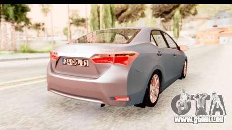 Toyota Corolla 2014 IVF pour GTA San Andreas laissé vue