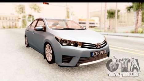 Toyota Corolla 2014 IVF pour GTA San Andreas sur la vue arrière gauche