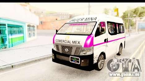Nissan NV350 Urvan Comercial Mexicana pour GTA San Andreas sur la vue arrière gauche