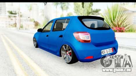 Dacia Sandero 2013 pour GTA San Andreas sur la vue arrière gauche