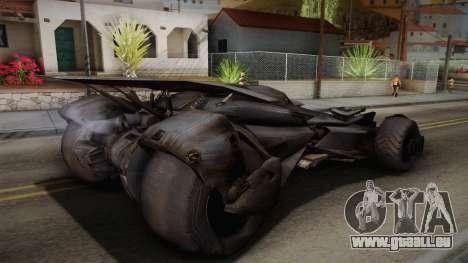 Batman VS Superman Batmobile pour GTA San Andreas laissé vue